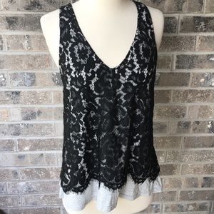 DO & BE Lace Strappy Tank Grey Black Open Back